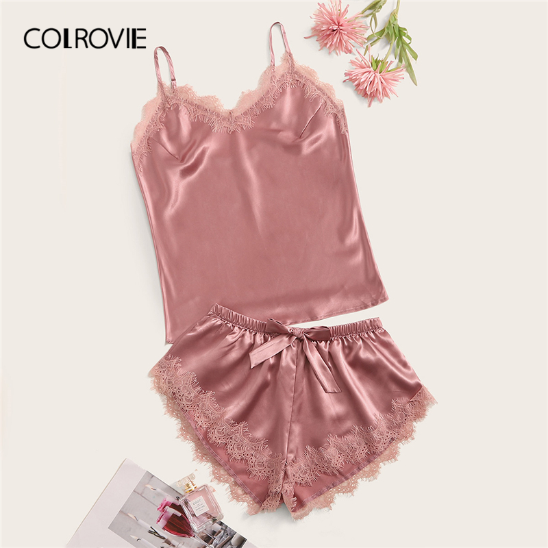COLROVIE Pink Eyelash Lace Satin Cami PJ Set 2019 Sexy Sleeveless Sleepwear Solid Pajamas Women Short Sets Ladies Pajama Set