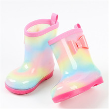 NEW 2021 Spring Autumn Children Rain Boots Soft Comfortable Waterproof Non-slip Cartoons Boys Girls Water Shoes 01B