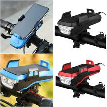4 In 1 Bicycle Light Flashlight Bike Horn Handlebar Phone Holder Cycling Including Mobile Power 2400/4000 Mah For Smart Phone