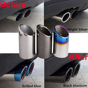 1/2Pcs Auto Car Exhaust Muffler Tip Pipes Covers fit for VW Tiguan Passat B7 CC Audi A3 8P A4 B8 Q5 A1 2009-2015 Car Accessories