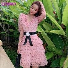 купить 2019 Japanese style slim slimming mesh polka dot lotus leaf layer cake dress по цене 1518.86 рублей