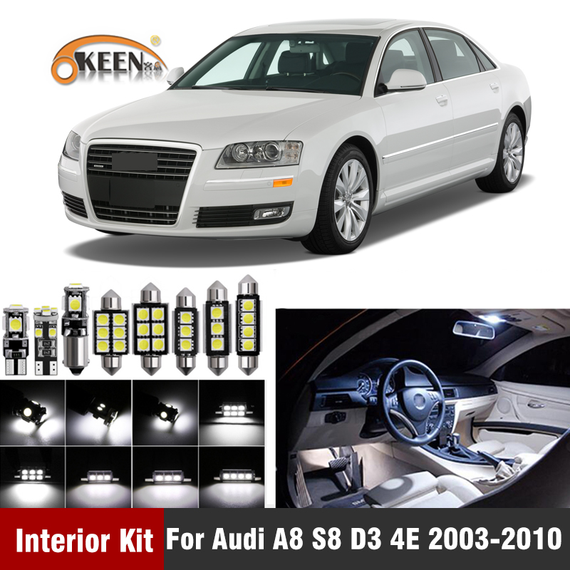 24Pcs Canbus <font><b>Led</b></font> Bulbs For <font><b>Audi</b></font> <font><b>A8</b></font> S8 <font><b>D3</b></font> 4E 2003-2010 <font><b>Led</b></font> Interior Light Kit Dome Map License Plate Trunk Light image