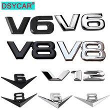 1Pcs 3D Metall Auto Dekoration Aufkleber Metall Selbstklebende V6 V8 V12Truck Auto Abzeichen Emblem Aufkleber für Universal Autos