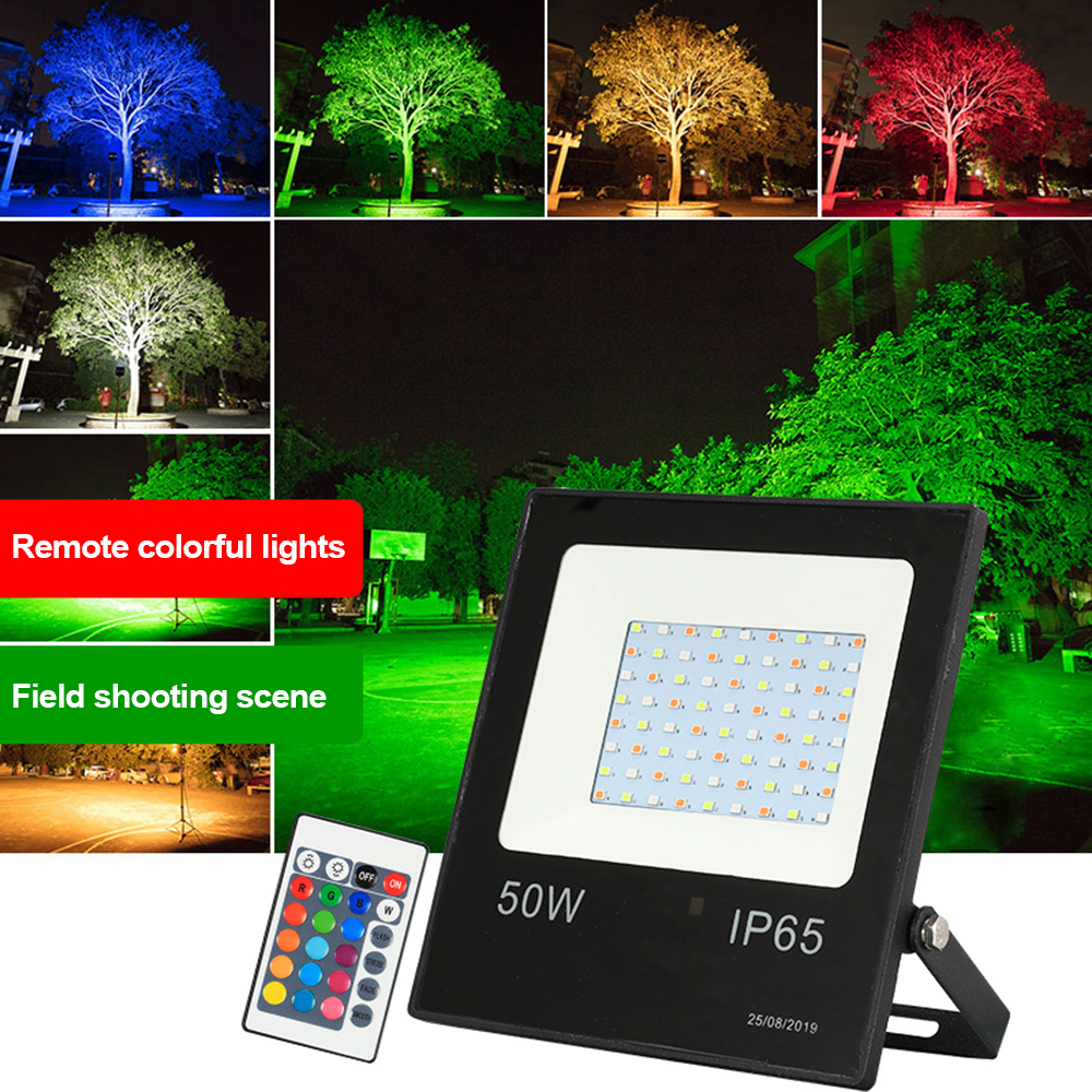 220V RGB LED Spotlight 10W 30W 50W Waterproof RGB Floodlight Reflector Projector With Remote Control For Outdoor Lighting