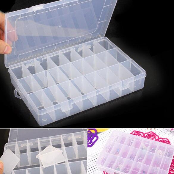 24 Сетки Коробка для хранения прозрачные пластиковые ювелирные изделия наконечник Профессиональный пустой разделенный Чехол Коробка для х...