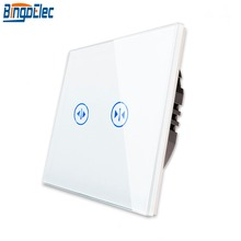 Bingoelec EU/UK Three Colors Touch Sensor Window Curtain Switch, Fashion Glass Plate Blind Switchs Roller Shutter Switch