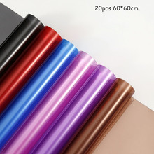 60*60cm 20pcs Stained Glass Transparent Plastic Waterproof Wrapping Paper DIY Bouquet Material Wrapping Paper Wholesale
