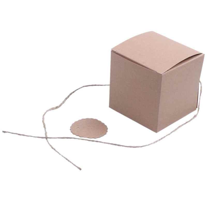 100 шт 7 см коробка с драже крафт + этикетка шнур конфет Подарочная для свадьбы