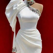 Wit Avond Prom Dress Mermaid Lange 2021 Nieuwe Vestidos De Fiesta Sexy Slit Een Schouder Crystal Dubai Arabisch Formele Jurken