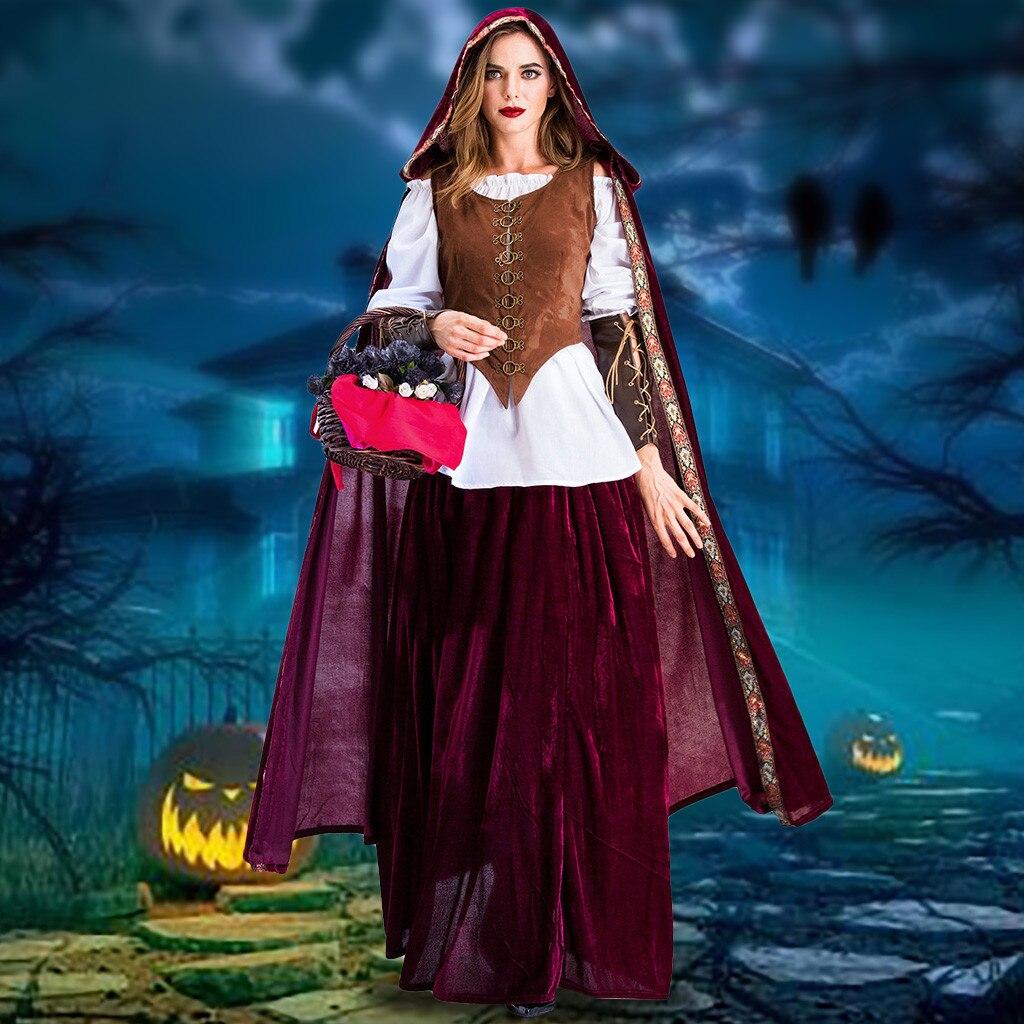 Robe d'hiver femmes Halloween Cosplay Costumes Vintage Style sorcière moyen age Court robe vadim robe femme