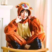 Baboon Onesie Animal Kugurumi Unisex Funny Brown Pajama Adult Cartoon Flannel Overall Winter Button Jumpsuit Home Wear Clothes