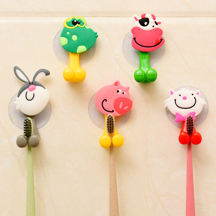1pcs/5pcs Animal Cute Cartoon Suction Cup Toothbrush Holder Bathroom Accessories Set Wall Suction Holder Tool image