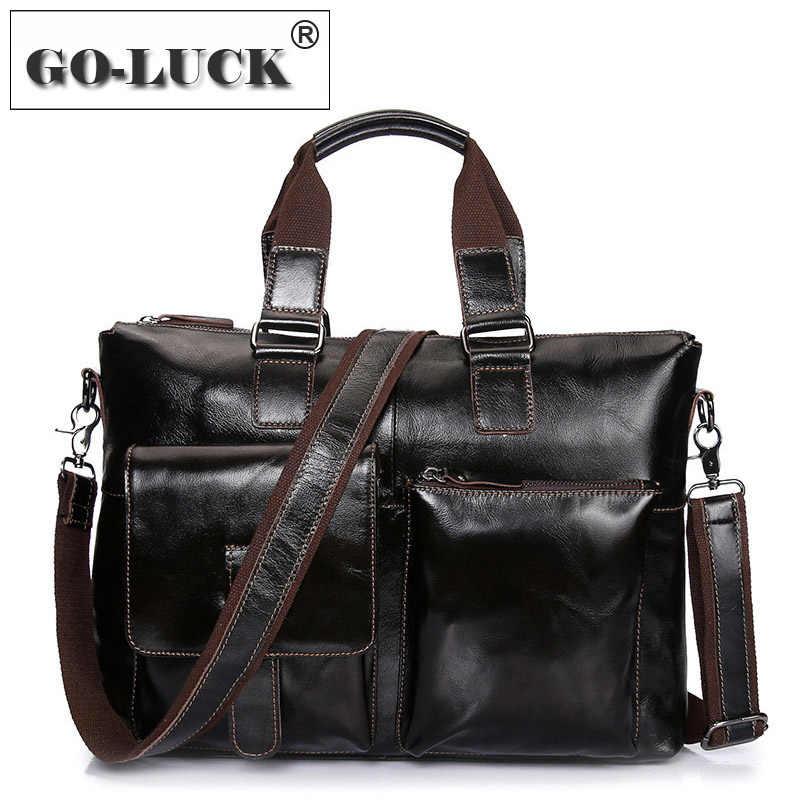"""Mens Leather 15/"""" Laptop Briefcase Men CrossBody Shoulder Messenger Bag Satchel"""