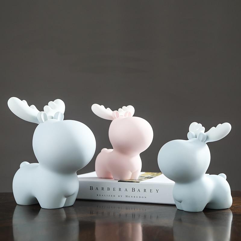 Cute elk piggy bank christmas gift idea Abstract pink blue children gift money box decoration
