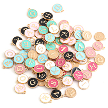 26pcs Double-sided Flat Round Alloy Letter Charms Enamel Charms Alphabet Initial Letter Pendants for DIY Jewelry Making Wholesal