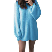JAYCOSIN Sweater Women Solid O-Neck Loose Knitted Warm Loose Knitted Jumper Elegant Soft Chic Comfy Long Sleeve Cute Sweater(China)