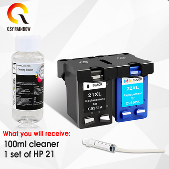 QSYRAINBOW Remanufactured ink cartridge For HP 21 22 for HP 21xL 22XL Deskjet F380 F2280 3910 3915 3918 3920 3940 D1530 2pk remanufactured for hp 62xl ink cartridge for hp62 inkjet cartridge used for hp envy 5640 5642 5643 5644 5646 5660 764