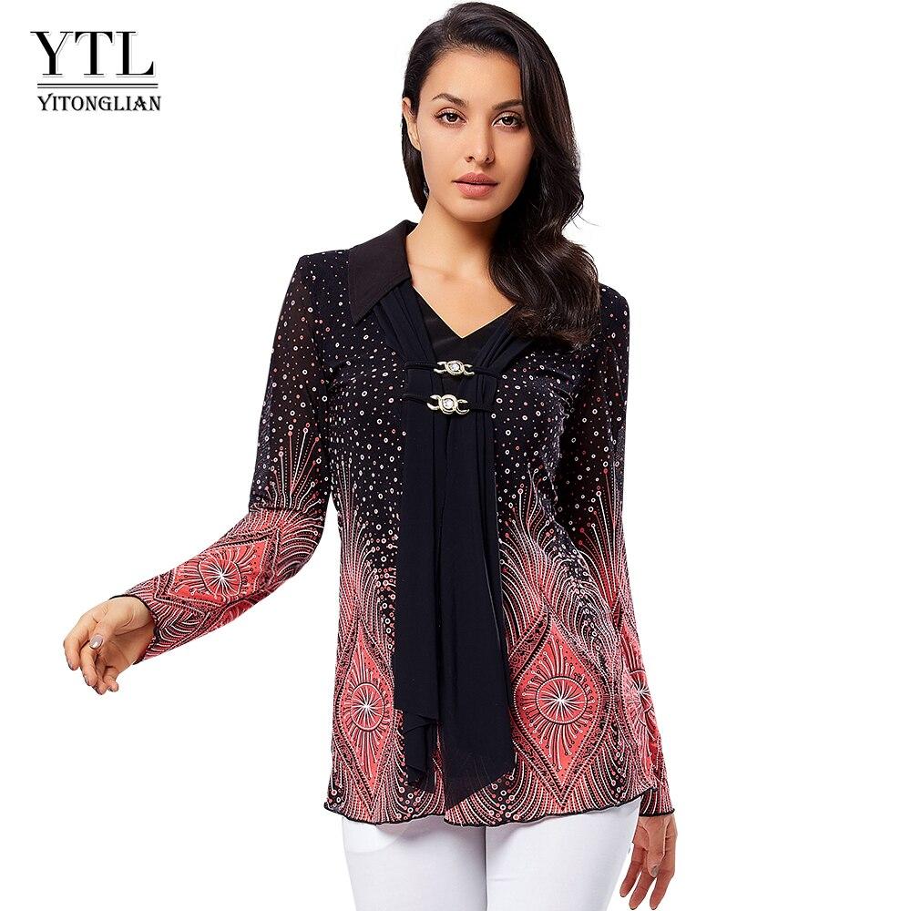 YTL Turn Down Collar Ladies Plus Size Shirt Flare Sleeve Print Blouses Women Big Sizes Winter Diamonds Brooch Vintage Tops H033