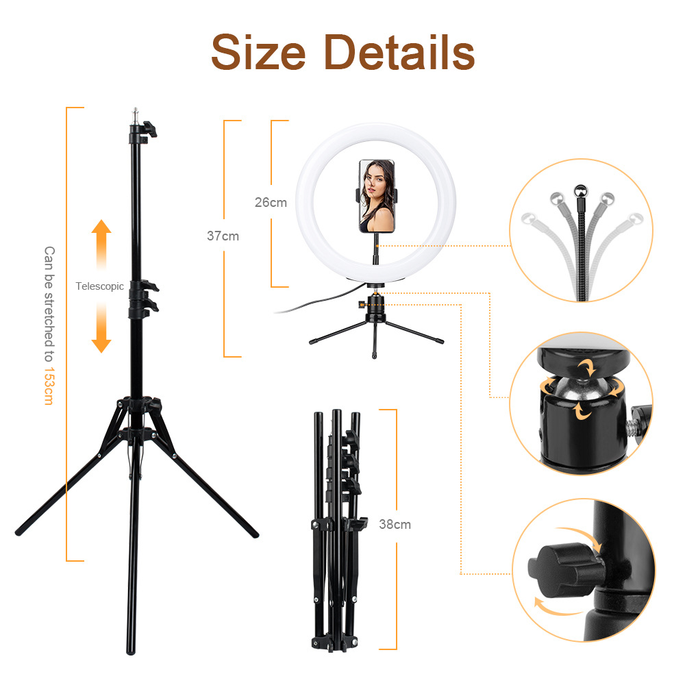 cheapest LED Ring Fill-Light Lamp Selfie Camera Phone Studio Tripod Stand Video Dimmable