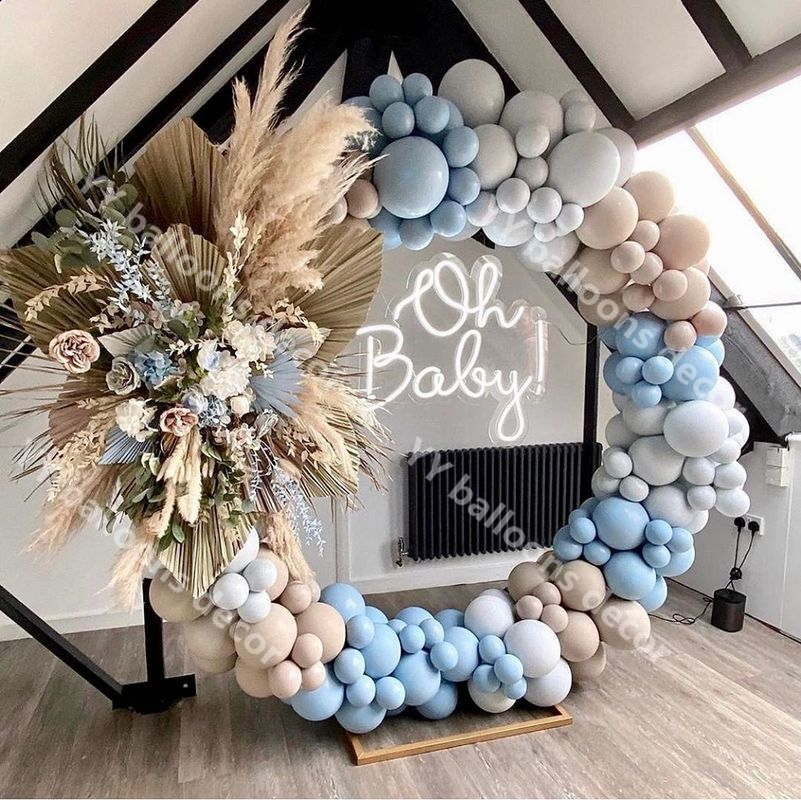 DIY Balloons Garland Arch Kit Baby Shower Macaron Blue Gray Retro Skin Globos Birthday Party Wedding Anniversary Decoration