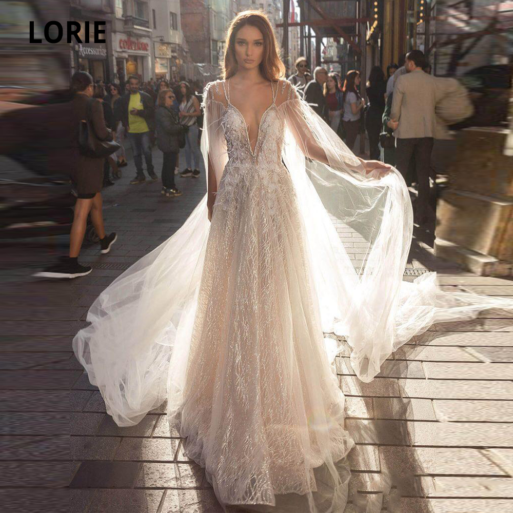 LORIE 2020 Boho Wedding Dresses Deep V-neck Appliqued Beaded Feather Shiny Sparkling Tulle Bridal Gowns Long Sleeves Backless