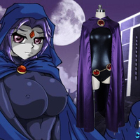 Anime Raven Cosplay Costume Women Sexy Clothes Halloween Party Cloak Jumpsuit Set