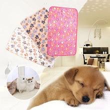 Коврик коралловый бархат товары для животных собачья Конура аксессуары одеяло милый узор лапы спальный удобный мягкий коврик