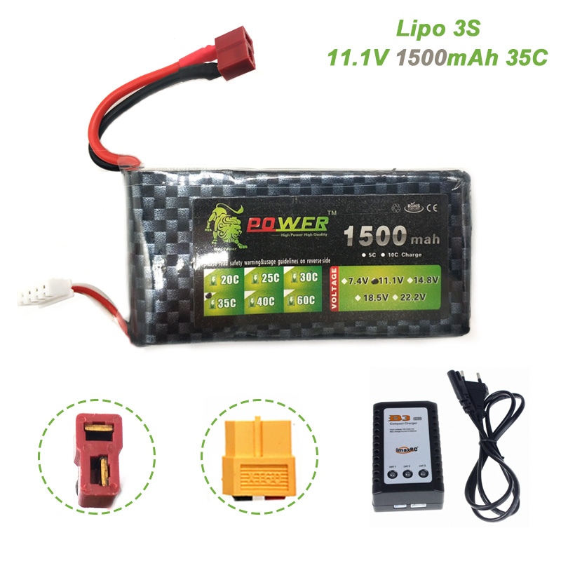 Lipo <font><b>3S</b></font> 11.1V <font><b>1500mAh</b></font> Battery With B3 Charger 35C MAX RC Battery For Racing Drone FPV Quadcopter RC Car Boat Helicopter image