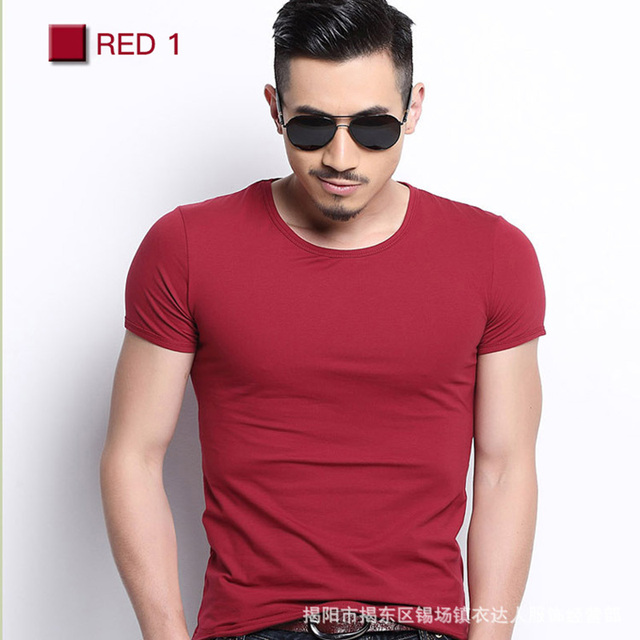 Men Tshirt Spandex Fitness Gym Clothing Man Tops Tees T Shirt For Male Solid Color Tshirts multi Colors T-Shirt XS-XXL 10