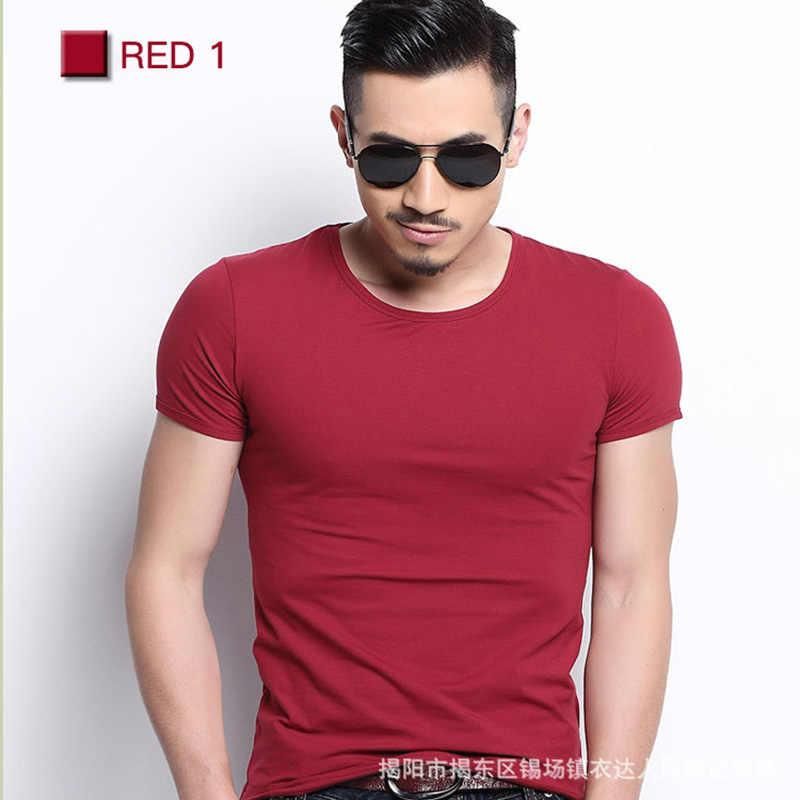 남자 Tshirt 스 판 덱 스 피트 니스 체육관 의류 남자 탑스 티셔츠 남성 솔리드 컬러 티셔츠 멀티 컬러 T-셔츠 XS-XXL