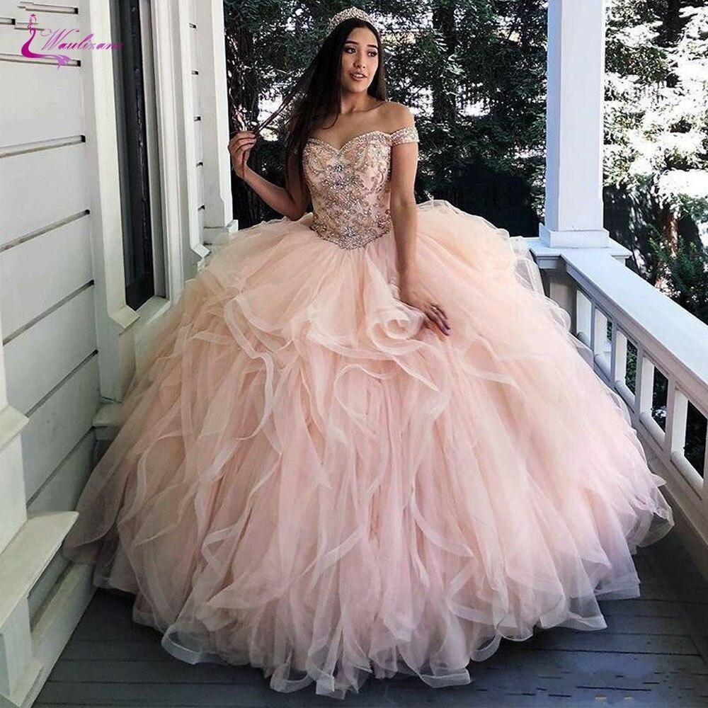 Decote de Vestido de Baile Vestido de Rosa Waulizane Querida Quinceanera Flush Beading Vestido –