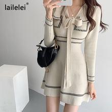 Arco de malha mini vestido manga longa uma linha camisola vestido corte elegante do vintage inverno preto escritório coreano pista outono 2020 robe