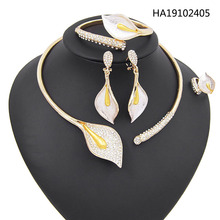 цена на Yulaili Fashion Wedding Bridal Jewelry Sets Leaf Shape Necklaces Earrings Bracelet Ring for Women Statement Jewellery Wholesale