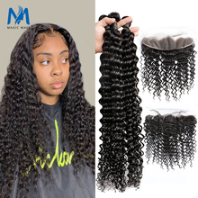 30 34 inch Deep Curly Bundles With Lace Frontal Brazilian Human Hair Extension 3 4 Bundles With Frontal Deep Wave Remy Extension cheap magic wave Silky Straight =60 CN(Origin) All Colors none 3 pcs Weft 1 pc Closure Brazilian Hair