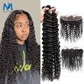 30 34 дюйма густые завитые пряди с шнурка из натуральных бразильских волос 3 4 пряди с фронтальной глубокая волна Реми волос