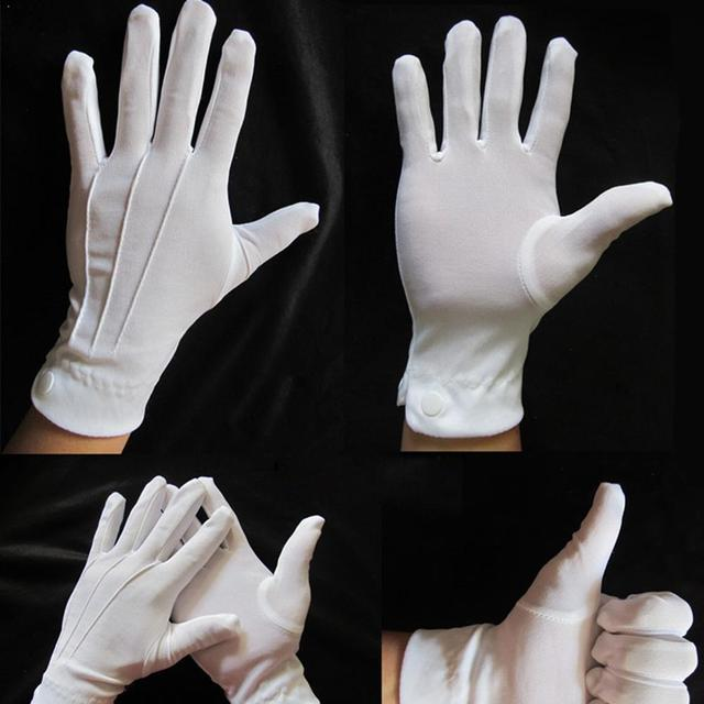 1 Pair White Gloves Thin Section Driving Security Plus Gloves Long Etiquette Button Inspection Work Wenwan Quality Protecti Z6X0