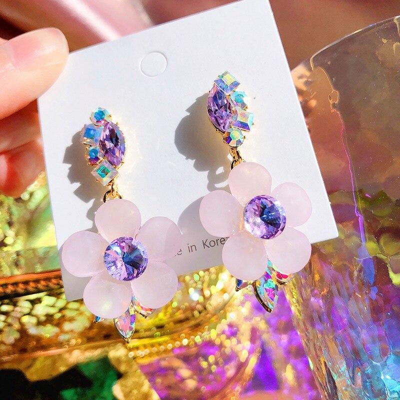 MENGJIQIAO 2020 Korean Fashion Acrylic Pink Flower Dangle Earrings Mujer Moda Girls Elegant Party Pendientes Jewelry