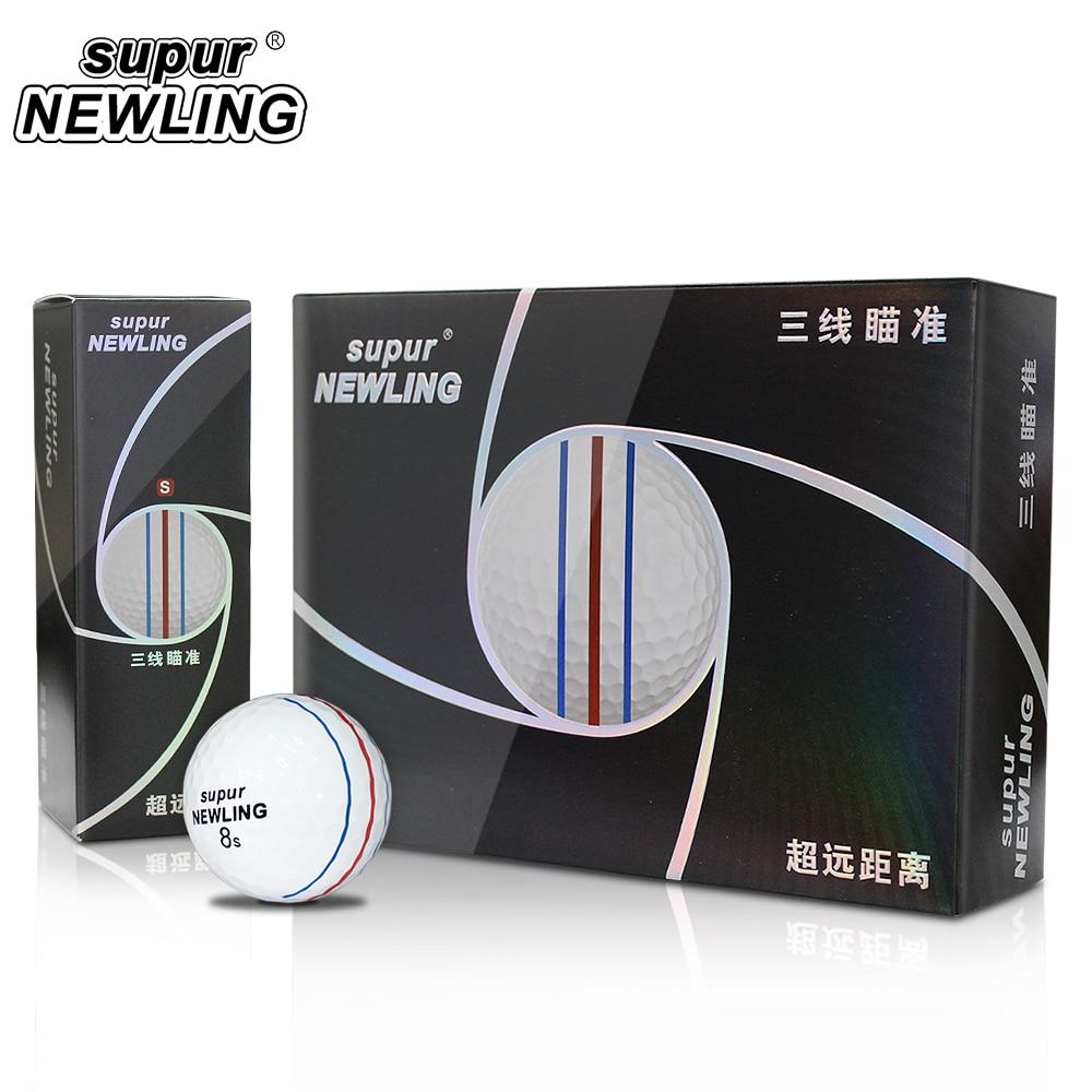 Supur NEWLING Golf Balls Triple Lines 3 Layers Supur Long Distance Balls 12 Pcs / Box