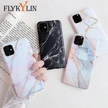 FLYKYLIN Mat Étui En Marbre Pour iPhone 11 Pro Max Couverture Arrière IMD Silicone Téléphone Coque Pour iphone 2 XR X XS Max 6 S 6 S 7 8 Plus