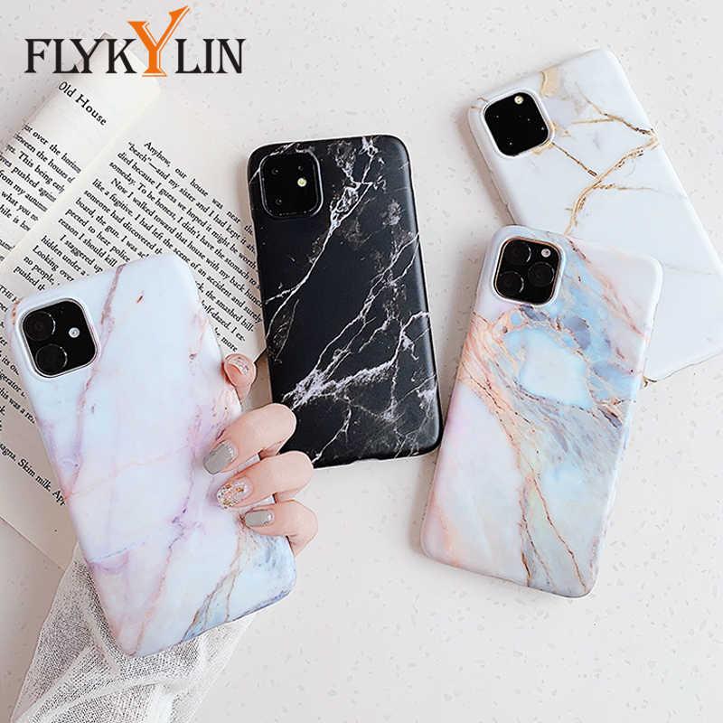 Funda mate de mármol FLYKYLIN para iPhone 11 Pro Max, carcasa trasera de silicona IMD para iphone SE 2 XR X XS Max 6 S 6 S 7 8 Plus