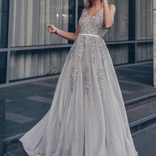 Prom-Dresses Robe Tulle Ever Pretty Lace Applique A-Line Wedding   Formal Elegant V-Neck