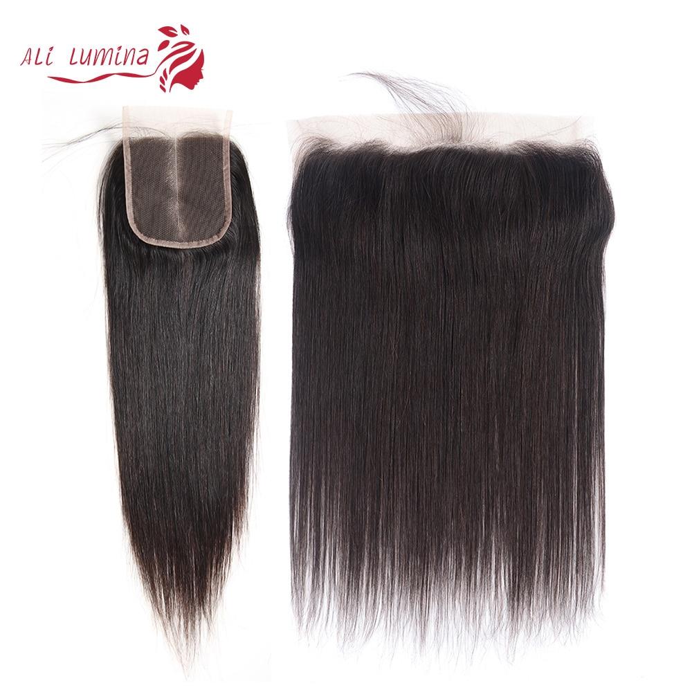 100% de cabello humano Remy peruano, línea de pelo Natural, 13x4, 4x4, 2x6, encaje Frontal, cierre de malla con división