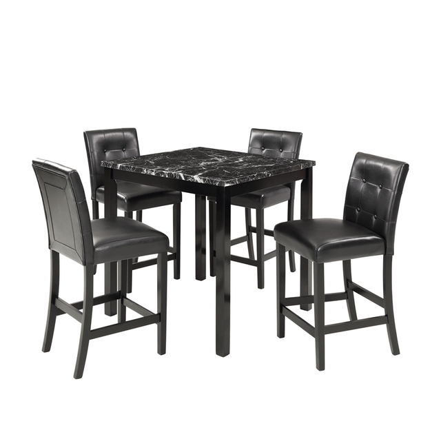 5 Piece Dining Room Set with Laminated Faux Marble Top 2