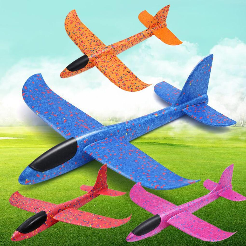 1 шт 48 см/35 см дети ручной бросок Летающий планер игрушки-Самолеты Дети Пена Самолет Модель Дети Открытый забавные игрушки