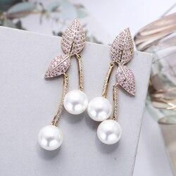 Luxury Leaf with Pearl Drop Earrings Beautiful CZ Stone Paved Fashion Bride Jewelry Women Gifts XIUMEIYIZU 925 Post Earrings