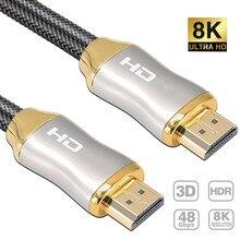 1 м 2 м 3 м 8K HDMI-совместимый кабель 4K 120 Гц UHD HDR 48 Гбит/с V2.1 для Xiaomi Samsung TV PS4 сплиттер переключатель аудио видео HD кабель