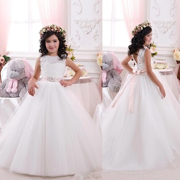 White/Ivory Flower Girl Dresses For Weddings Lace Bow Girls Pageant Dresses First Communion Dresses Beautiful Ball Gown