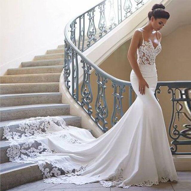 Mermaid Wedding Dress Sleevelesss Vestidos de novia Vintage Sweetheart Bridal Gown Backless Lace Wedding Gown 2021 New Design 1