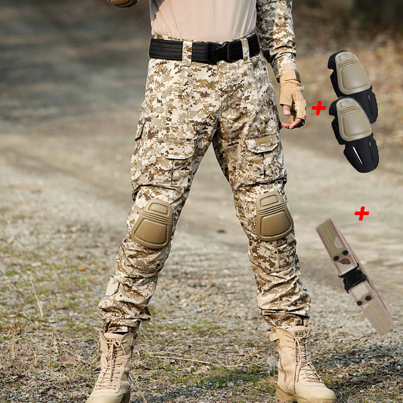 Men Military Pants With Knee Pads Men's Camouflage Tactical Cargo Pants Army Soldier Pants Trousers Paintball Tactical Clothing
