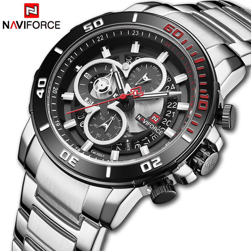 Men Watch NAVIFORCE Top Luxury Brand Chronograph Quartz Wristwatches Mens Stainless Steel Sport Watch Clock Relogio Masculino